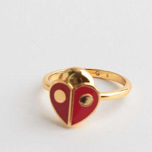 Kate Spade Red Enamel Glazed Ladybug Ring